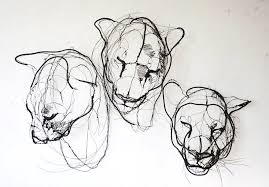Wire Sculpture From David Oliveira Of Three Lion Heads