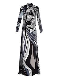 emilio pucci sagittarius print high neck silk gown in black lyst