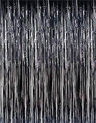 Foil Fringe Curtain Nz by 3ft X 8ft Black Metallic Fringe Tinsel Foil Photobooth Curtain