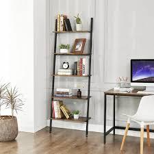 vasagle leiterregal im industrie design bücherregal mit 5 ebenen wandregal wohnzimmer küche büro eisen stabil schräg lehnt an der wand