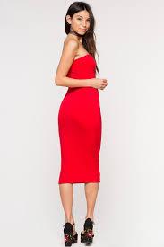 memdalet women u0027s strapless bodycon midi jersey red dress cute