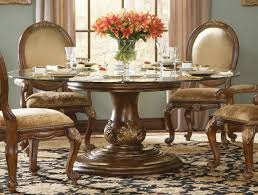 Charming Round Glass Dining Room Sets Table For 8 Marble Top