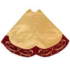 60 Inch Gold Satin Tree Skirt With Embroidered Burgundy Velvet Edging