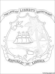 Liberia Coat Of Arms Coloring Page