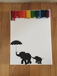 Find Some Silhouettes Online Print Them And Glue Onto The Canvas I Printed Out An Elephant Chain With One In Front Holding Umbrella