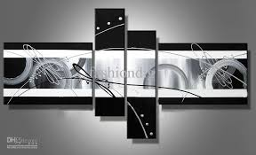 Stretched Abstract Oil Painting Canvas Black White Grey Artwork With And Framed Wall Art Ideas