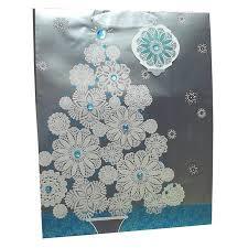 ATN Inc Silver Holiday Christmas Tree Gift Bag