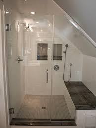 a custom built shower with 1x6 anatolia zera annex silver tile on