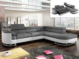 canapé angle promo canapé d angle droit en tissu et simili blanc et gris mysen