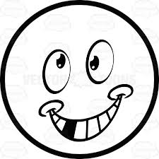 Silly Smiley Faces Black And White Crazy Smile Large Eyed