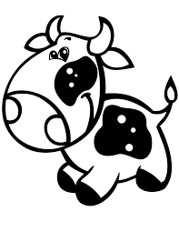 Super Cute Baby Cow Easy Coloring Page