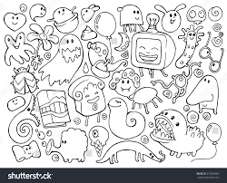Coloring Book Doodle Illustrations Set With Many Fantasy Funny Characters Monsters Strange Creatures