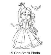 Cute princess with long hair holds on finger little bird outlined picture for coloring book on