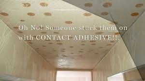 Sheetrock Over Ceiling Tiles by How To Remove Contact Adhesive From A Ceiling Youtube