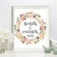 Nursery Scripture Print Christian Wall Art Fearfully And Wonderfully Made