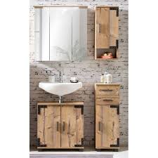 badmöbel set industrial stil mit led spiegelschrank toulouse 04 silber