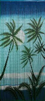your bamboo door beads with tropical night scene is a colorful