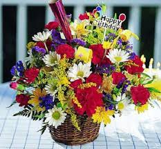 Happy Birthday Flower Basket Arrangement