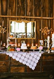 Rustic Dessert Table With Vintage Lace Overlay Via 100 Layer Cake