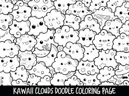 Clouds Doodle Coloring Page Printable Cute Kawaii Pages Cat