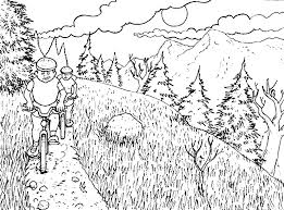 Nature Mountain Bike Coloring Pages