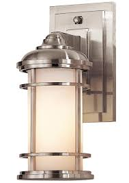 lighthouse 1 light small outdoor wall lantern brushed steel ip44