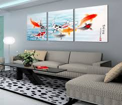 Full Size Of Koi Fish Canvas Prints Wall Art Painting Picture Gray Fabric Sectional Sofa Set