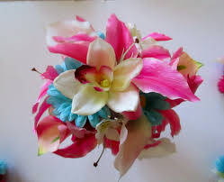 Tropical Bridal Bouquet In Hot Pink Wedding Floral Package Lily And Orchid Destination Flowers Beach