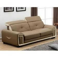 ventes uniques canapes vente unique canapé 3 places en cuir taupe et liseré blanc
