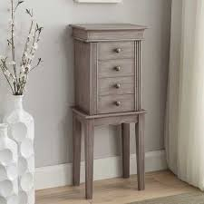 Linda Wooden Flip Top With 4 Storage Drawers Rustic Jewelry Armoire Pine Style Cabinet