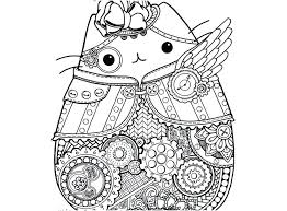 Pusheen Coloring Pages 238 Portraits Steampunk Printable Fearsome Summer