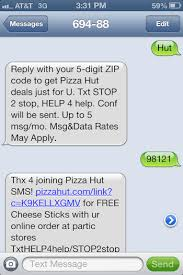 Pizza Hut Text Message
