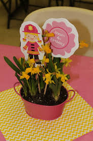 Pink Girl Fire Truck Firefighter Birthday Party Flower Daffodil Centerpiece