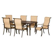 Sams Club Patio Set With Fire Pit by Brigantine 7 Piece Outdoor Dining Set With Cast Top Table Sam U0027s Club