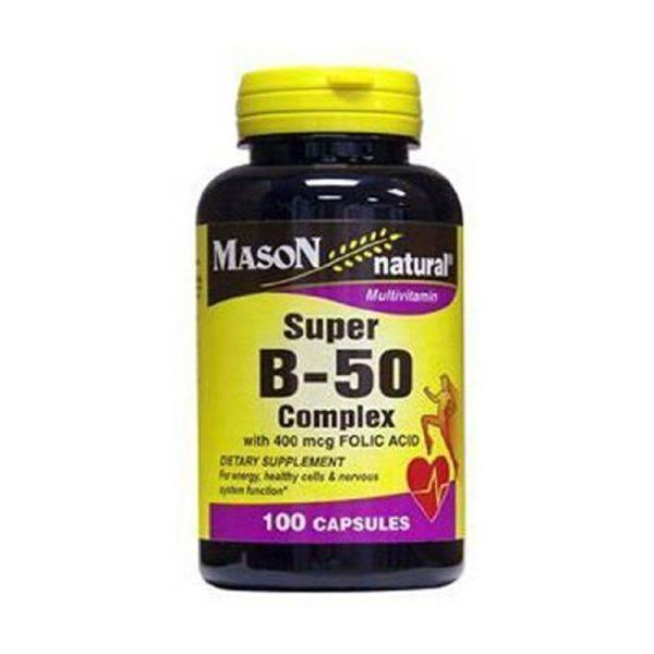 Mason Natural Super B-50 Complex Supplement - With 400mcg Folic Acid, 100 Capsules