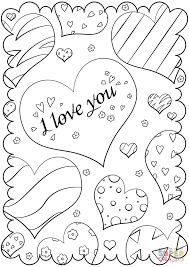 I Love You Coloring Pages Valentines Day Card Page Free Printable Drawing