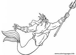 King Triton Free Little Mermaid Disney Saddd Coloring Pages