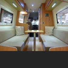 L Shape Lounge Sporthome Based On VW Crafter LWB Designed And Built To Store Carry Motocross Bikes Leather Upholstery In Black With Grey Pipi