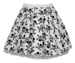 white with black skulls gothic polka dot 15