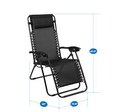 Naomi Home Zero Gravity Lounge Patio Outdoor Recliner Chairs, Black, Set Of  2