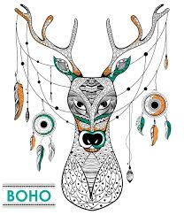 Download Tribal Boho Style Deer With Dream Catcher Stock Vector