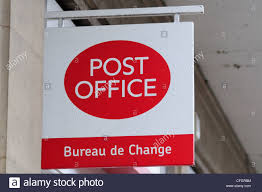 bureau de change en post office bureau de change sign cambridge uk stock