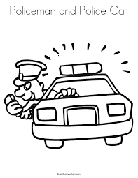 Policeman And Police Car Coloring Page