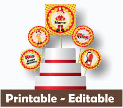 100 Fire Truck Cupcake Toppers Birthday Decorations Instant Download Printable Files