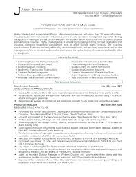 Sample Resume Construction Project Manager Examples For Management