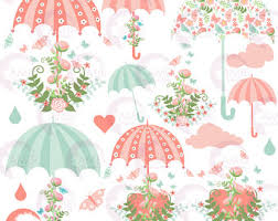 Wedding Clipart Bridal Shower Save The Date Floral Umbrella