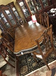 Mahogany Rococo Dining Table w 2 lvs 6 Chairs