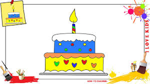 How to draw a birthday cake SIMPLE EASY & SLOWLY step by step for kids