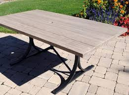 backyard creations boulder creek rectangular dining patio table