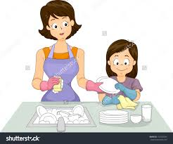 Clipart Animated Mom Washing Dishes